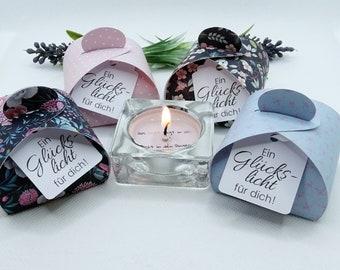 Tea Light Message - Set of 4 - Message of Happiness - Gift Idea Lucky Statement Lucky Light