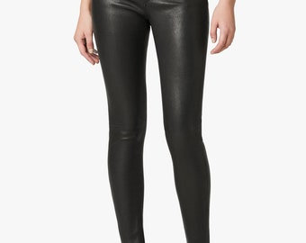 Women Real Lambskin Trousers Classic Leather Skinny Pants Slim fit Leggings-33