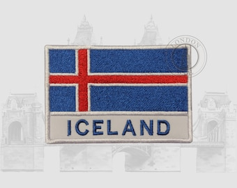 ICELAND ICELANDIC CROSS NATIONAL COUNTRY FLAG BADGE IRON SEW ON PATCH EUROPE