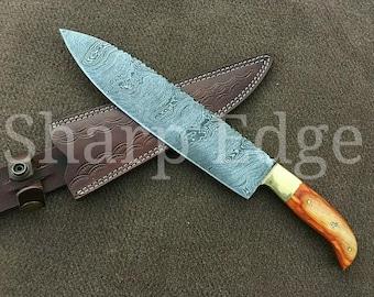 "Beautiful Custom  Handmade Damascus steel Kitchen  Chef knife 12"""