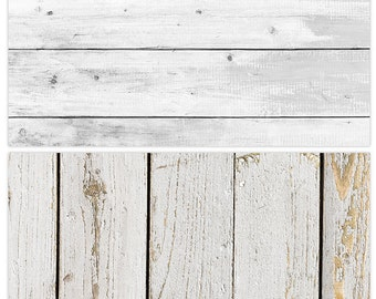 White Wood Photography Backdrop,(2 in 1) Double Sided Flat Lay Background for Food Photography, Light Wood Backdrop Panel,Rustic White Board