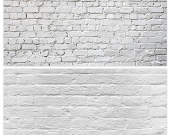 White Brick Wall Photography Backdrop, (2 in 1) Double Sided Flat Lay Background for Food Photography,Photo Backdrop Panel,Photography Props