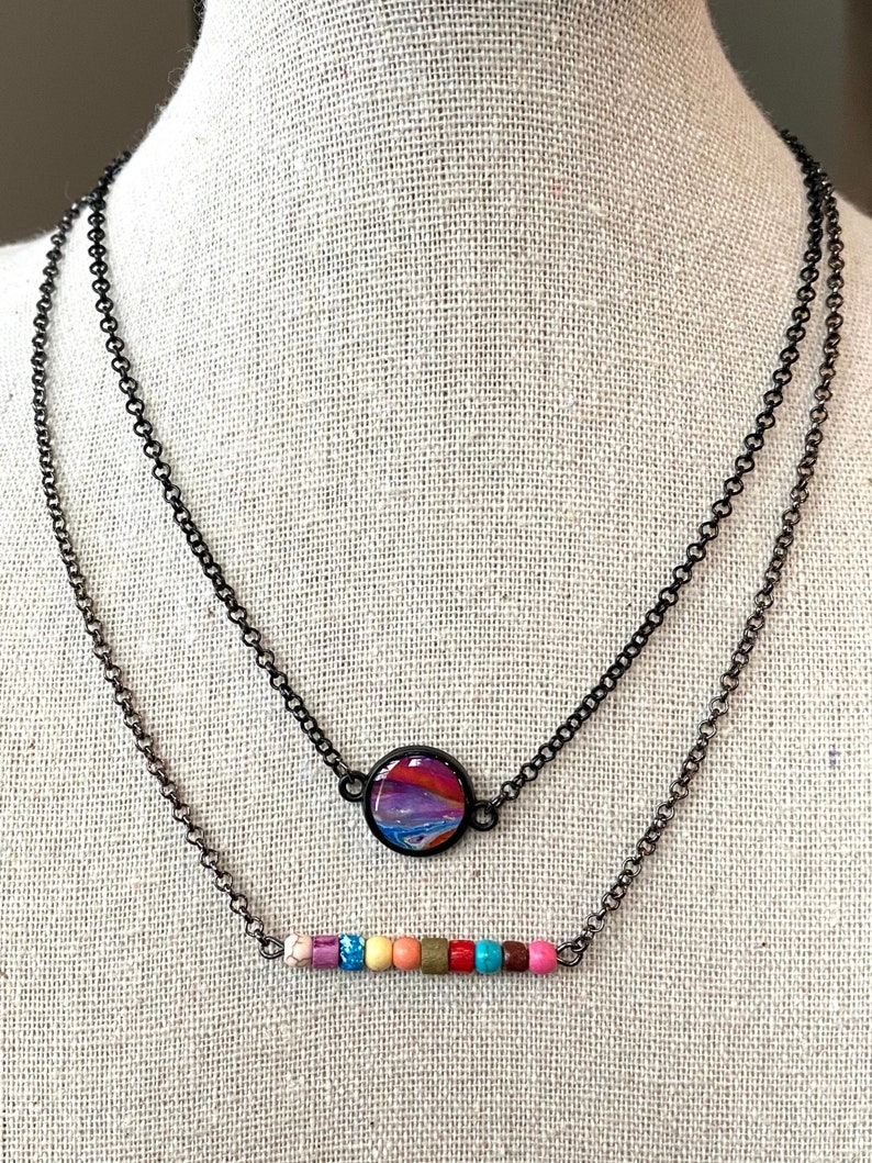 Super Colorful 2-Layer Necklace with Paint Pour Pendant and Bead Bar