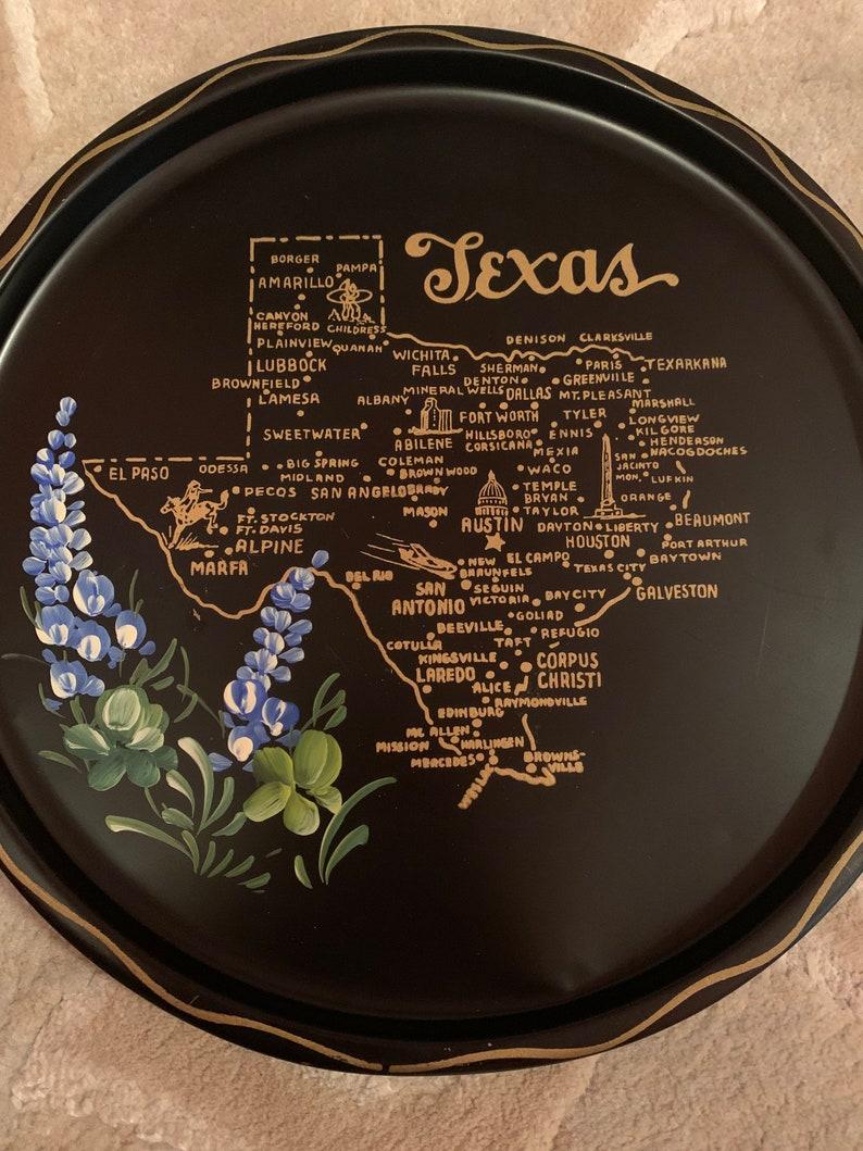 Vintage Texas Tin Map Tray