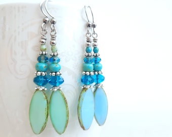 BOHO long earrings, mint, turquoise, light blue, silver, SUMMER, bohemian glass beads, with stainless steel clasp