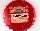 Vintage Budweiser Beer Bottle Cap Sign Man Cave Home Bar Cottage Garage Metal Tin