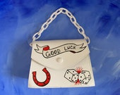 Good Luck Hand Painted Faux Leather Bag