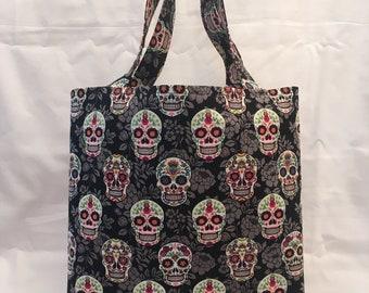 Skulls Market Bag Skull Madness Black Canvas Tote Bag