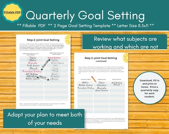 Quarterly Goal Setting homeschool planner insert.  Editable planner pages for a paperless homeschool.  Collaborative Homeschool Evaluation.