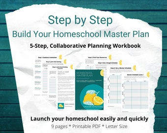 Step-by-step - Homeschool Master Plan.  Workbook to set your homeschool strategy, homeschool schedule, and homeschool resources.