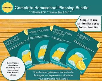 Editable Complete Homeschool Planner Bundle -  Collaborative Student Planner, Teacher Planner.  Great for dysgraphia. 25 templates.