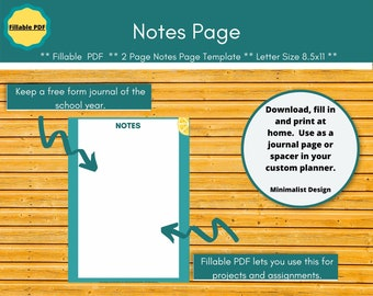 Blank Notes homeschool planner pages.  Editable planner inserts for a paperless homeschool.  An open page for thoughts and musings.