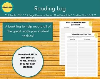 Book tracker, reading log. Homeschool planner pages.  Editable planner insert for a paperless homeschool. Editable pdf.
