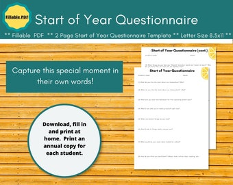 Start of the Year Student Questionnaire. Homeschool planner insert.  Editable planner pages ->  paperless homeschool.  Great for dysgraphia.