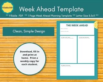 The Week Ahead homeschool planner insert.  Collaborative weekly check-in.  Editable planner pages -> paperless homeschool.  Secular