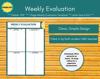 End of Week Evaluation homeschool planner insert.  Editable homeschool planner page for a paperless homeschool.  Great for dysgraphia.