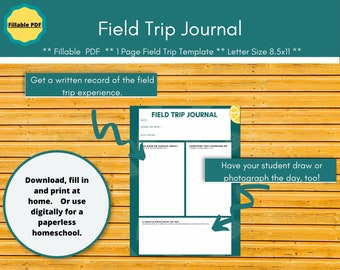 Field Trip Tracker planner pages.  Editable planner planner inserts for a paperless homeschool. Field trip journal.