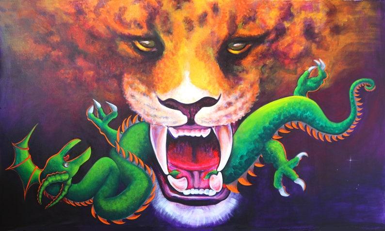 RUMBLE Jaguar Dragon Cosmic Amazon Mystical Dream Battle Fantasy Rainforest Serpent Sky Duel Orange Green Fierce Warrior Shaman Prophecy
