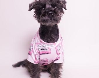 Pink Mixed Tape Dog Shirt | Dog clothing | Cat Clothing | Dog Cat Fashion | dog apparel | Dog T-shirt