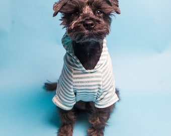 Light Sparkly Turquoise Striped Dog Hoodie | Dog Sweater | Dog Outerwear | Fashionable Dog Shirt | Cat Hoodie