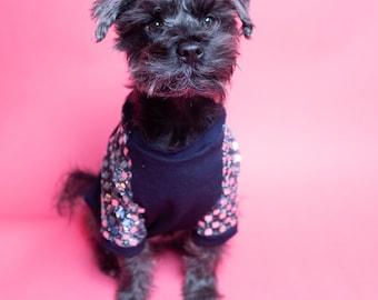 Dog Shirt with Sparkle Square Sleeves | Dog clothing | Dog Outerwear | Dog Fashion| Dog Apparel | Cat Shirt