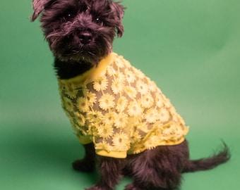 Lace Dog Shirt with 3D Daisies | Dog clothing | Spring Dog Fashion| Dog Apparel | Cat Shirt