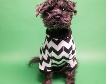 Dog Shirt with Black & White Aztec Raglan Sleeves | Dog clothing | Dog Outerwear | Dog Fashion| Dog Apparel | Cat Shirt