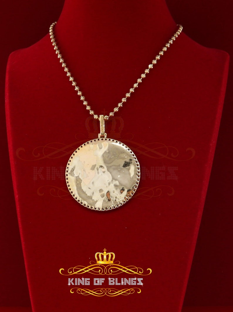 10K Yellow Gold Finish Silver 1.75 Picture Pendant with Lab Created Diamonds