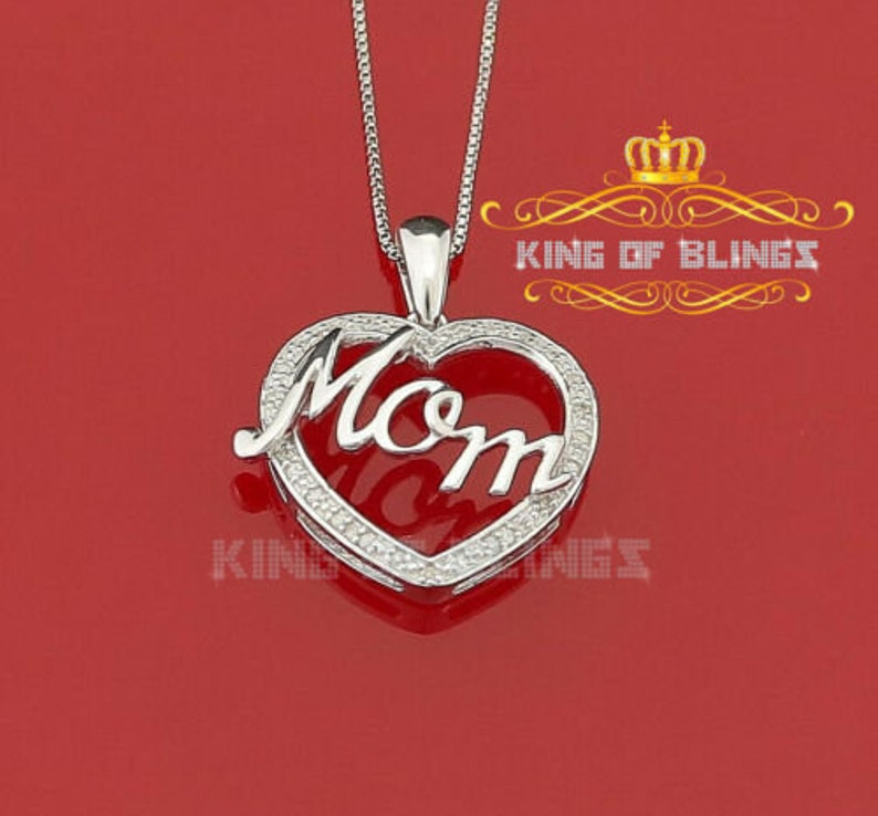 10K White Gold Finish Real 0.10CT Diamond Mom/'s Silver Pendant