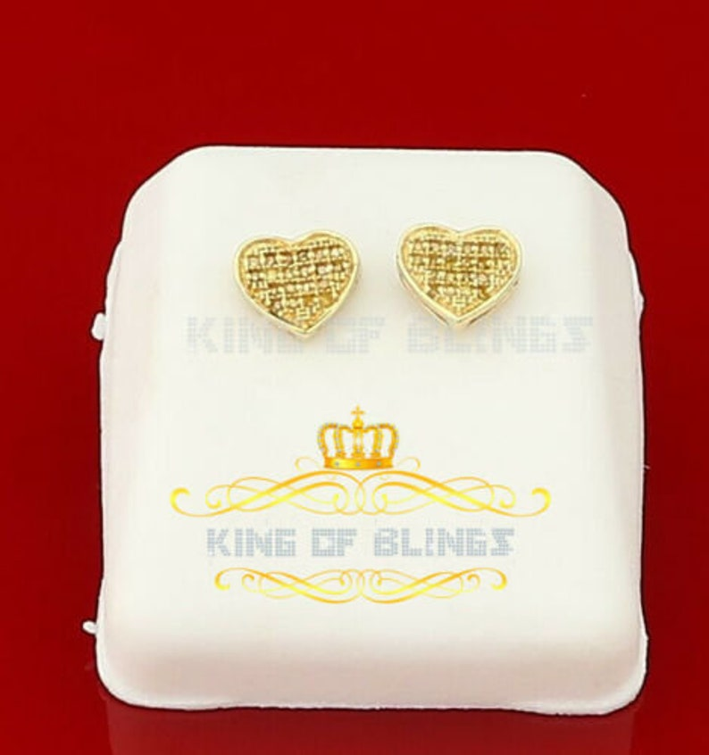 10K Yellow Gold Finish W Real Yellow Diamonds 0.10CT Silver Stud Earring Best Gift For The Season