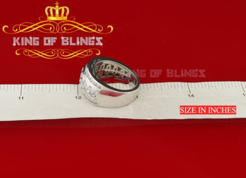 10k White Gold Finish Sterling Silver Men/'s CZ Ring Adjustable Size 9-11 Best Gift For The Season