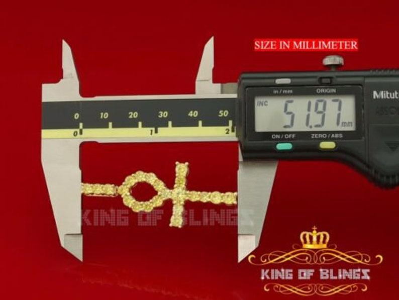 10K Yellow Gold Finish Silver Ankh Pendant with Lab Created Yellow Diamonds
