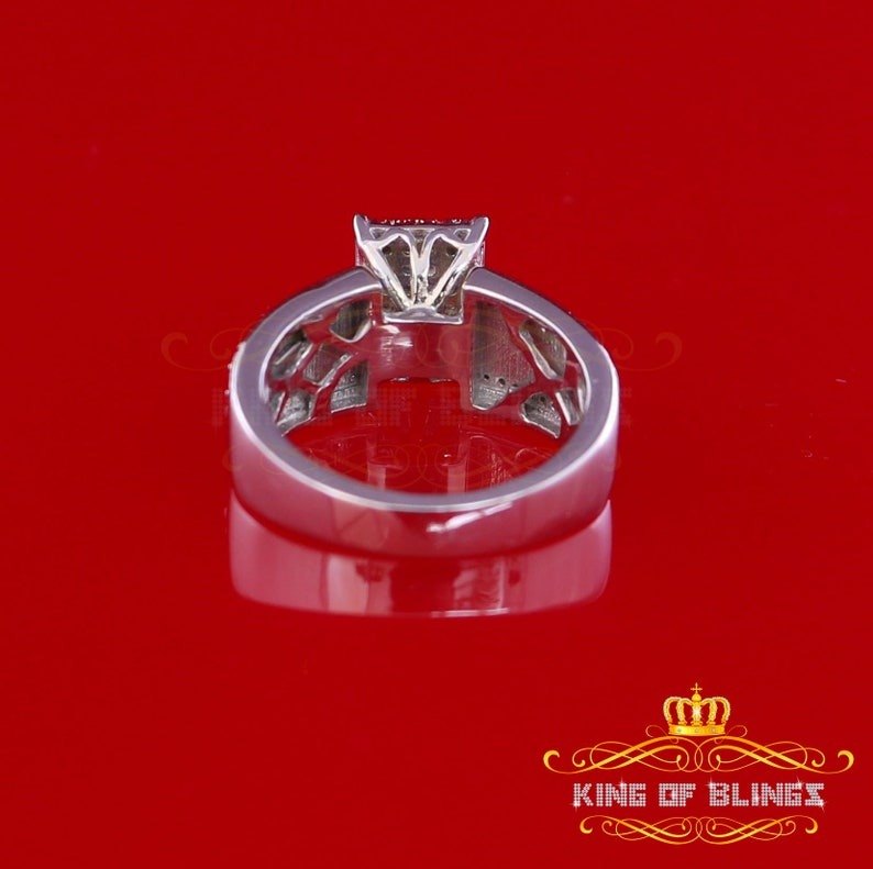 10K White Gold Finish with 0.33 CT Real Diamond Ladies Silver Ring Size 7