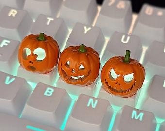 Halloween Pumpkin Backlit LED Keycaps Handmade Resin Custom Artisan