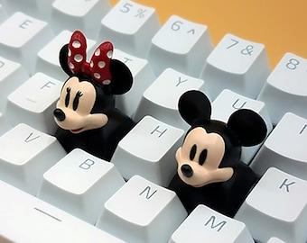 Mickey and Minnie Mouse Keycaps Handmade Resin Custom Artisan