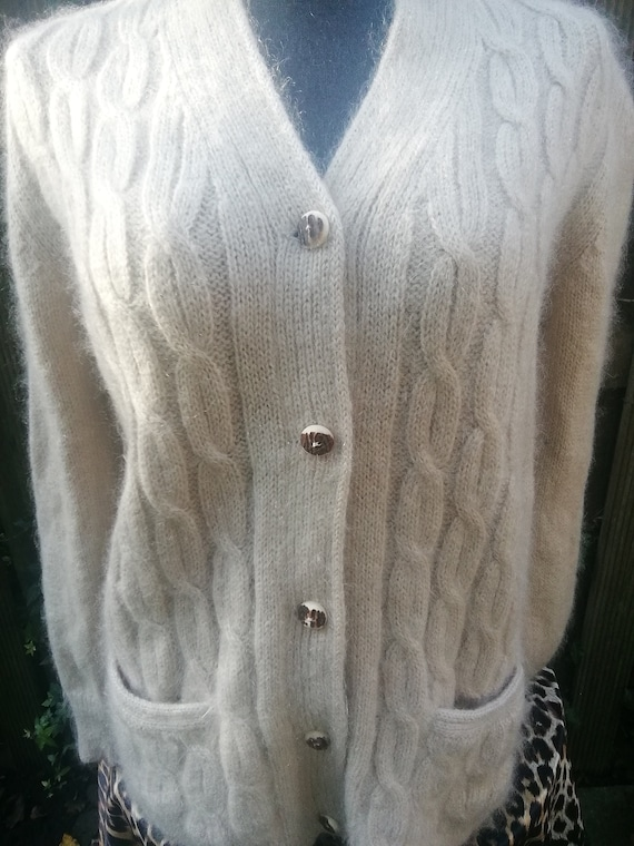 Mohair beige cardigan, ecru mohair vest, ivory moh