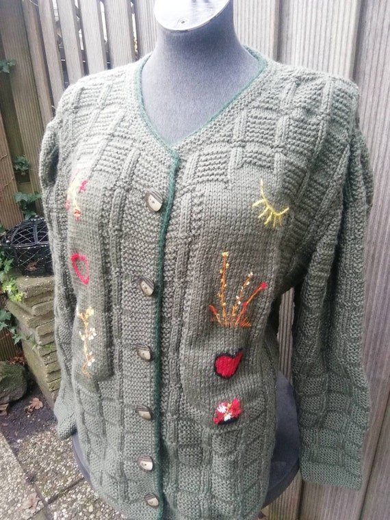 Austrian, tyrolean,alps,hand-knitted green vintage
