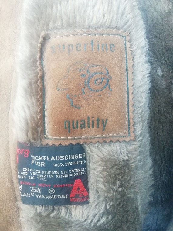 Vintage 70s brown suede lammy coat, lammy jacket,… - image 10