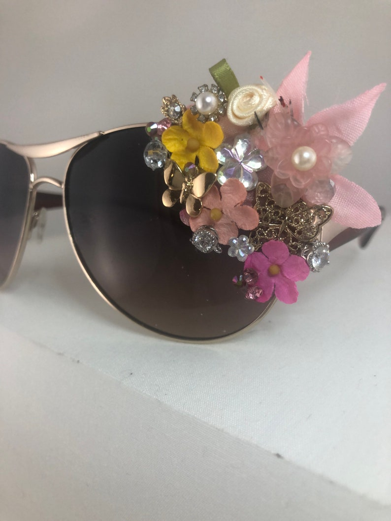 Fairy Forest Intricate detailed mosaic embellished silver round aviator sunglasses tiki swag