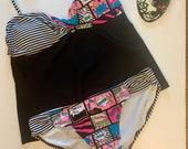 Vintage Ocean Pacific Neon Cartoon Tankini Two Piece Swimsuit Size 11 13 Juniors