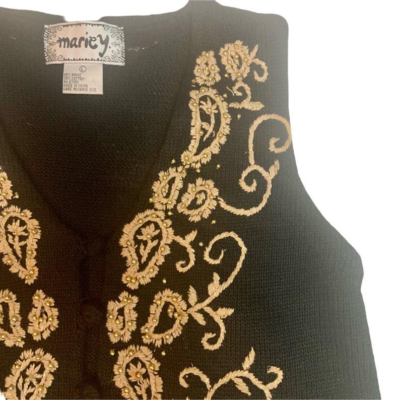 Vintage 80\u2019s Black Tan Metallic Gold Paisley Sweater Vest