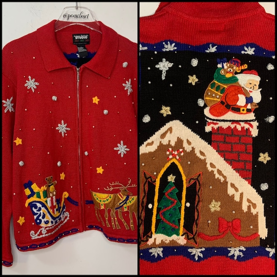 Vintage Ugly Cute Christmas Embellished Sweater Ch