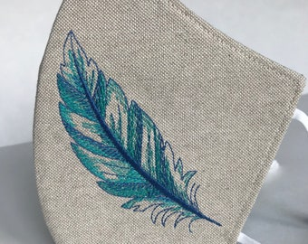 Embroidered feather face mask - Feather protective mask - Linen washable face cover - Unisex face protection - linen fabric mask And cotton