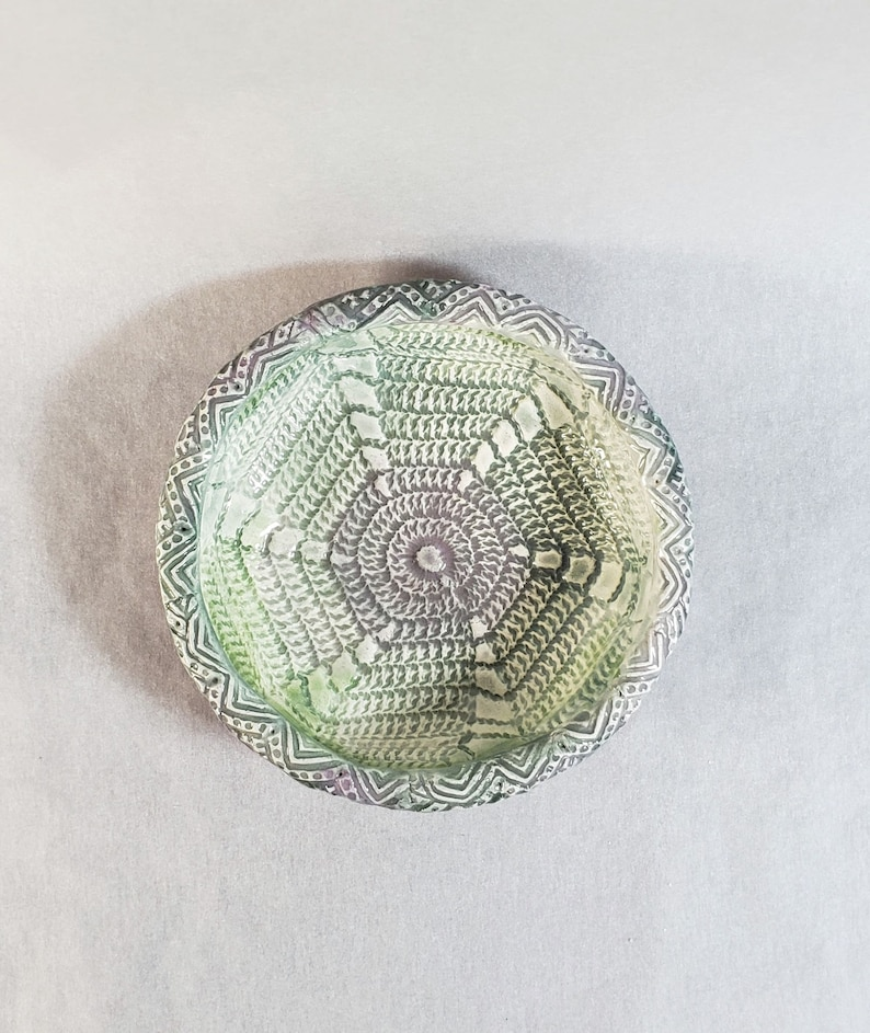 Handmade ceramic dish with vintage crochet design for jewelry or soap Cottagecore storage Small round pottery utility plate candle holder
