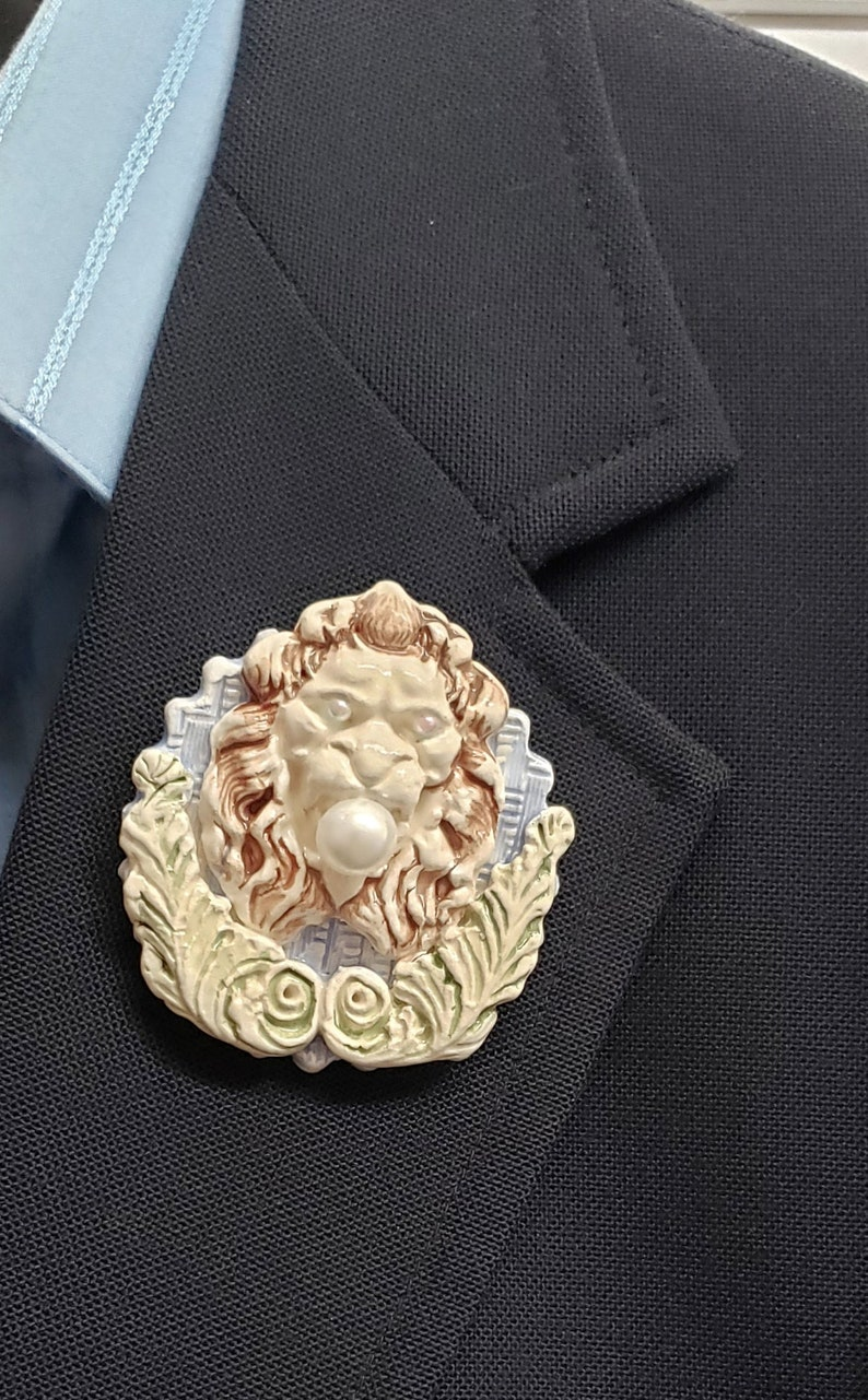 Handmade ceramic lion brooch white blue green brown Cottagecore Unisex lapel pin with faux pearls Hygge African theme shawl or scarf pin