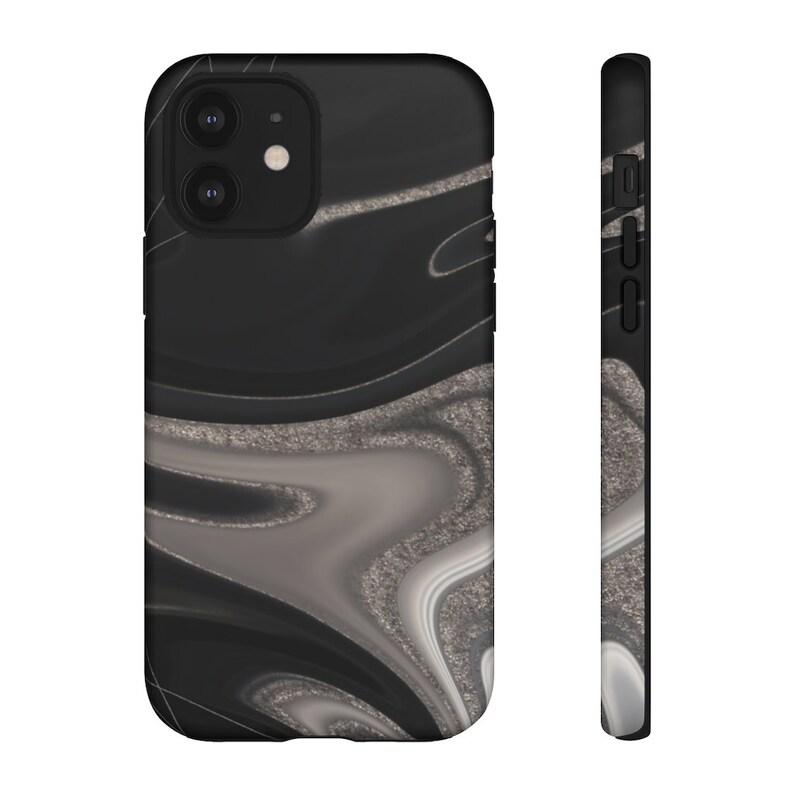 White /& Silver Marble Tough Phone Case MONET Black