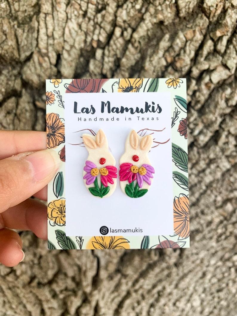 Spring Bunny Earrings 18K Gold Plated Studs Handmade Polymer Clay Earrings Spring Floral Earrings