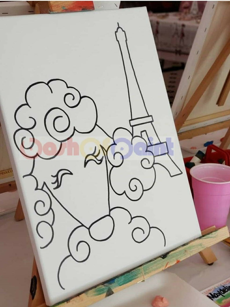 French Poodle PreDrawn CanvasPaint Kit AvailableOutline DIY Girl French Paris Sip Birthday PartyHand-Drawn SketchPuppy /& Eiffel Tower