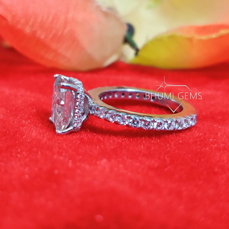 2CT Radiant Colorless Moissanite Engagement Ring Solitaire Ring Luxury Ring For Gift Classic Ring 4 Prong Setting Accent Set Ring Bhumi Gems