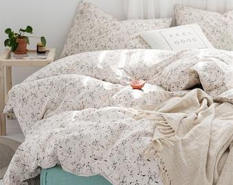 Cream White/Orange/Yellow 100% Cotton Duvet Cover Twin Full Queen King,Dorm Bedding Cotton Floral Duvet Covers,Quilt Cover+Pillowcases Set